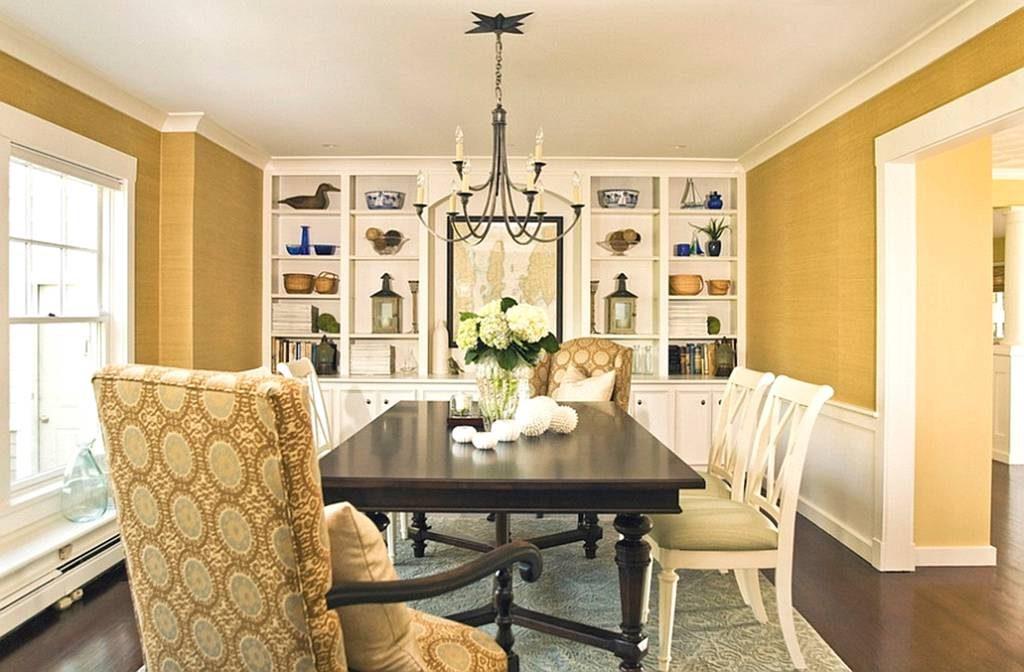 ترکیب رنگ زرد و سفید در دکوراسیون اتاق ناهارخوری