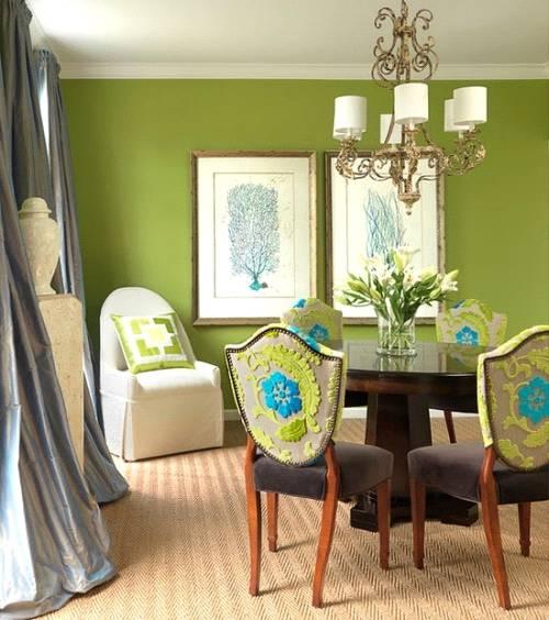 رنگ سبز در دکوراسیون اتاق ناهارخوری