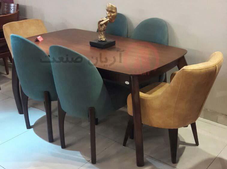 صندلی چوبی باران ، صندلی چوبی سر تاج(دسته دار) ، میز ناهارخوری چوبی خرچنگی باران