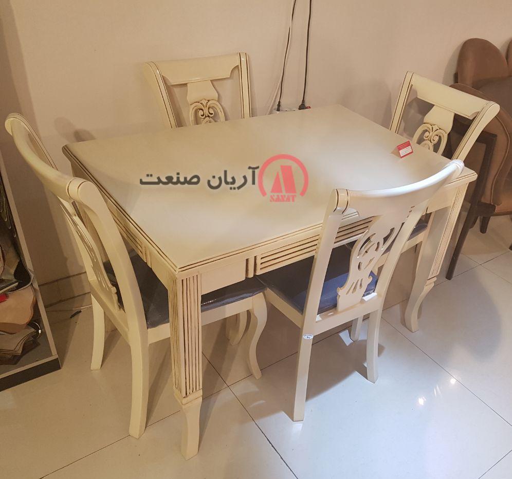 صندلی چوبی منبت ، میز چوبی طرح دار پایه خراطی (شیاردار)