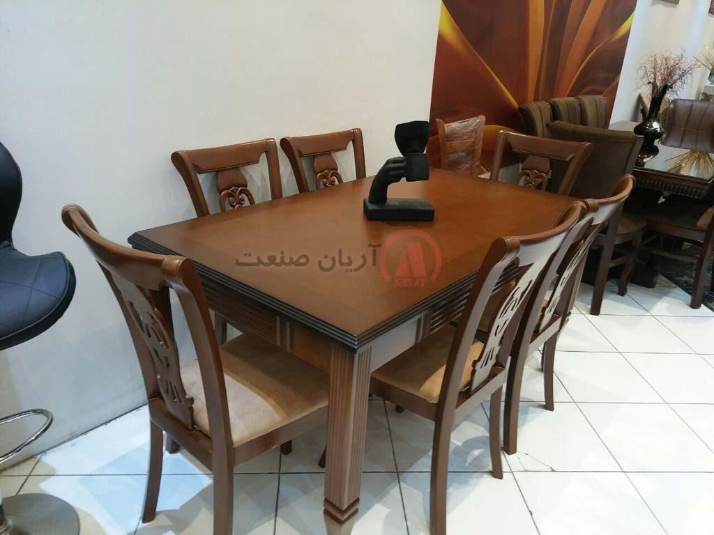 صندلی چوبی منبت ، میز ناهارخوری چوبی طرح دار پایه خراطی (شیاردار)