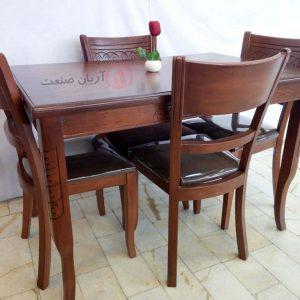 صندلی چوبی خط دار ، میز ناهارخوری چوبی خط دار