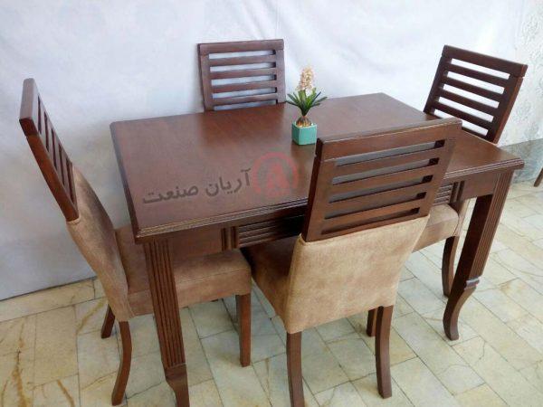 صندلی چوبی نگین ، میز چوبی طرح دار پایه خراطی (شیاردار)