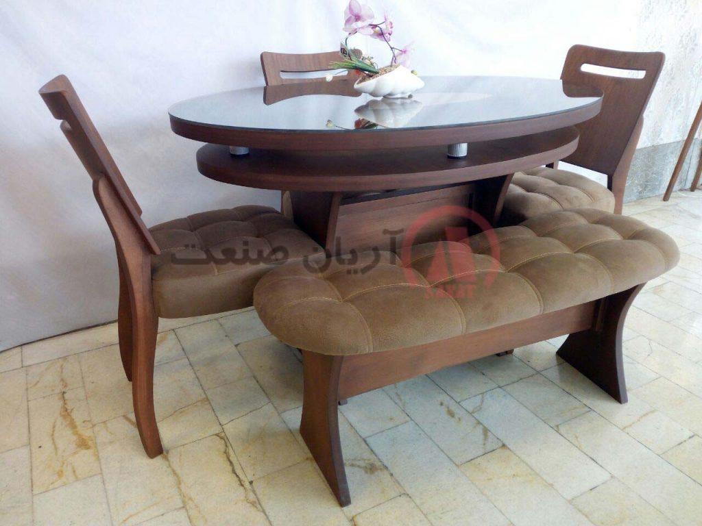 صندلی چوبی رویال و میز بیضی رویال