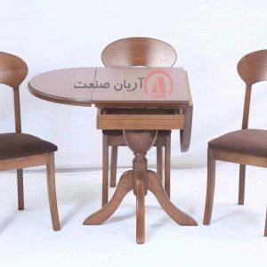 صندلی چوبی پونه ، میز چوبی بیضی تاشو