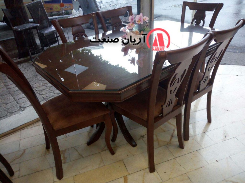 صندلی منبت ، میز چوبی 6 نفره هشت ضلعی