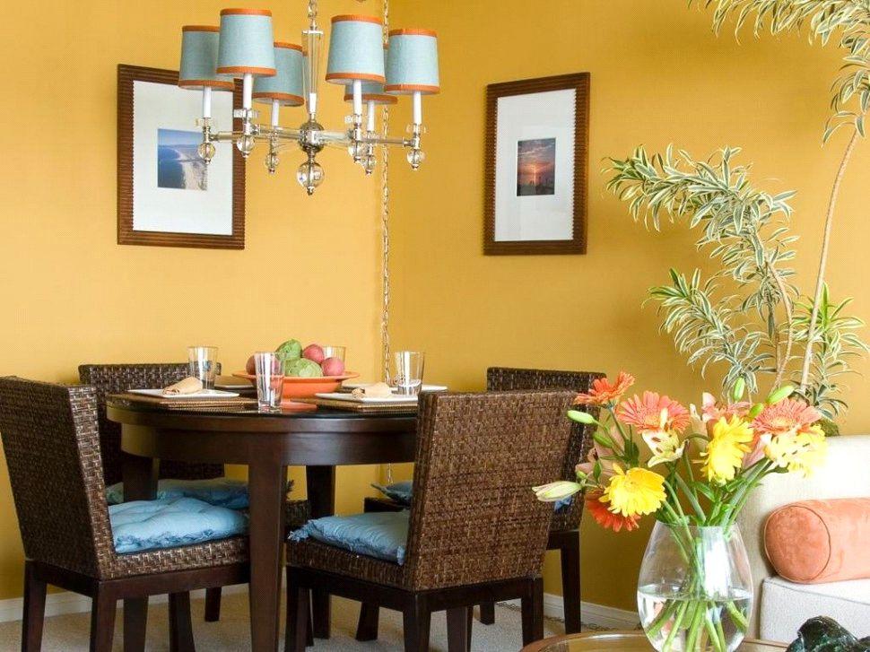 رنگ زرد برای دکوراسیون اتاق ناهارخوری