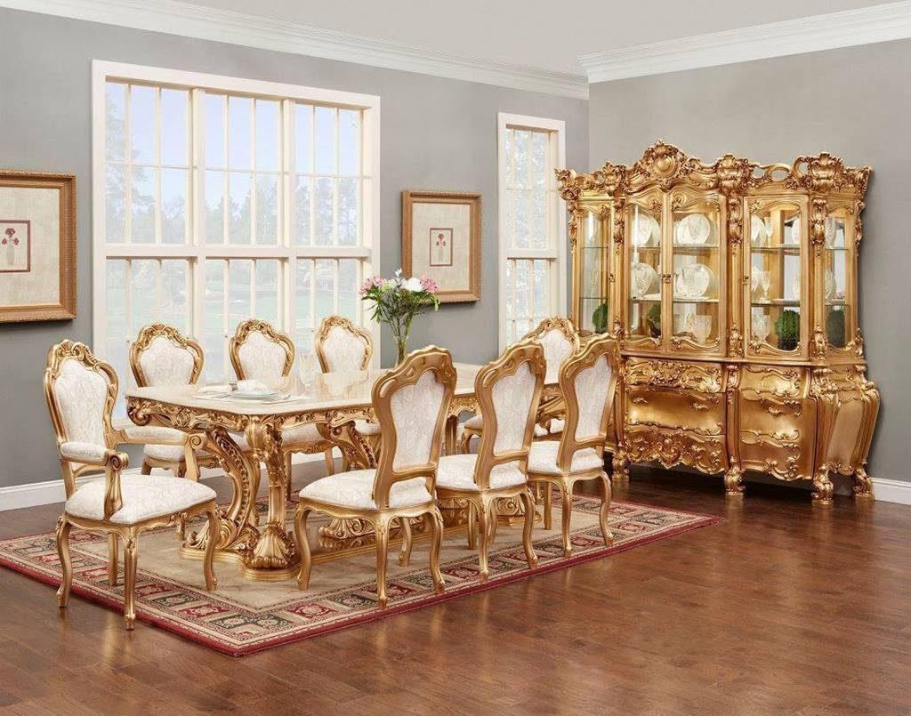رنگ طلایی برای ناهارخوری کلاسیک