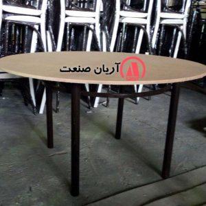میز فلزی گرد پایه ساده