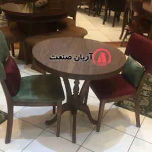 صندلی چوبی بلوط ، میز چوبی گرد لاله