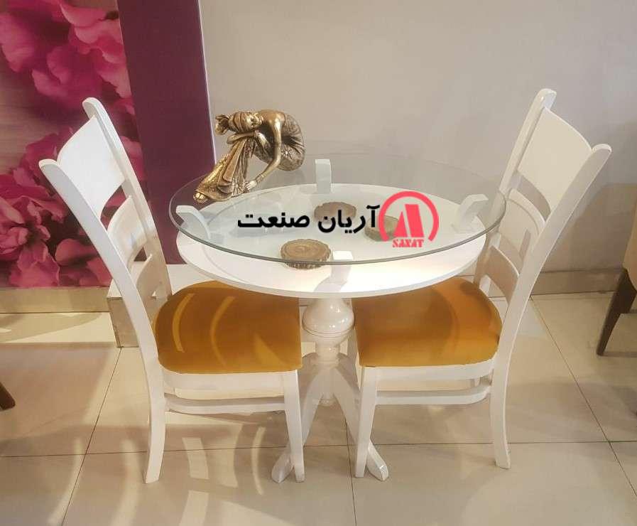 صندلی چوبی مونا ، میز چوبی گرد گلدانی دو طبقه