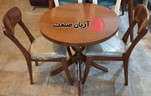 صندلی چوبی پانه ، میز گرد گلدانی