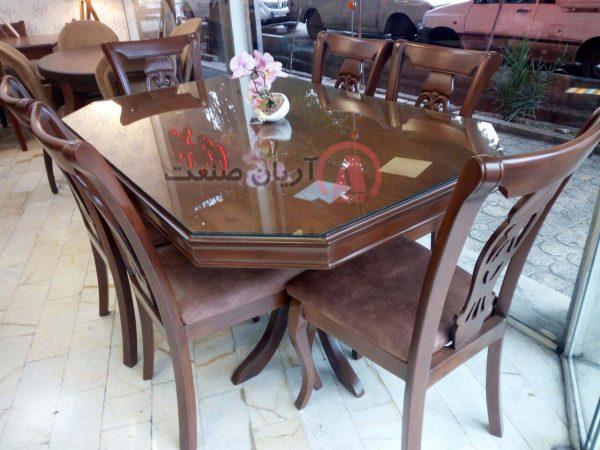 صندلی چوبی منبت ، میز چوبی هشت ضلعی