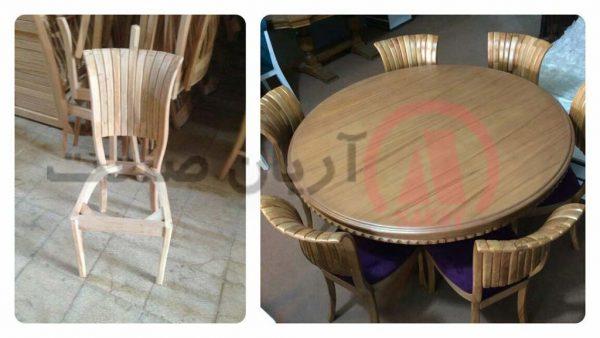 صندلی چوبی صدفی ، میز چوبی گرد کنگره ای