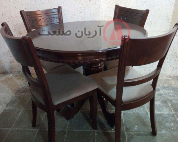 صندلی چوبی خط دار ، میز ناهارخوری چوبی گرد کنگره ای