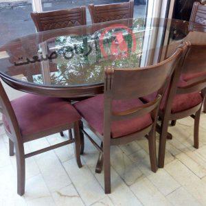 صندلی چوبی خط دار ، میز ناهارخوری چوبی قایقی